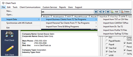 Importing Clients Screenshot