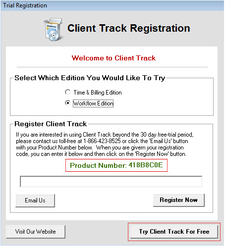 Client Track Registration Screenshot