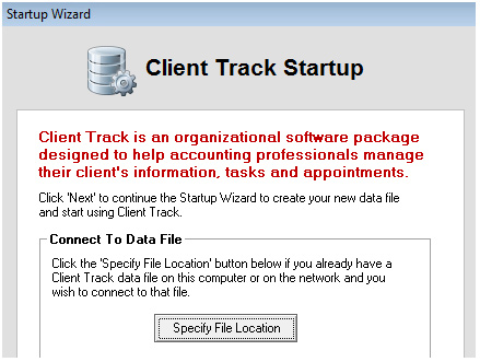 Client Track Startup Screenshot (Data File)