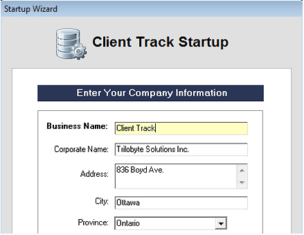 Client Track Startup Screenshot (Company Information)