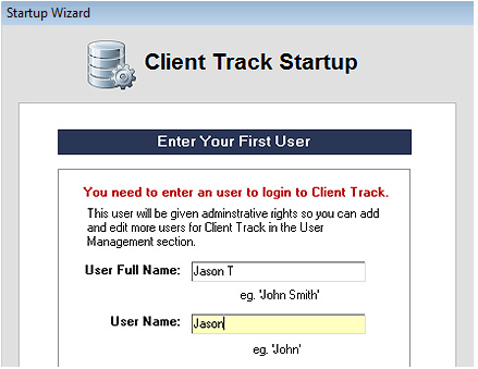 Client Track Startup Screenshot (User Information)