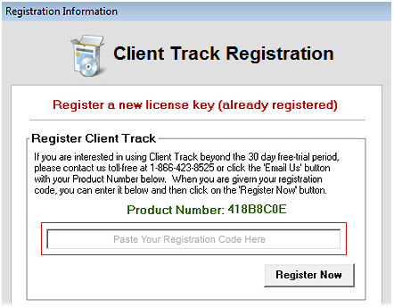 Register Client Track Screenshot