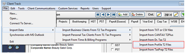 Export CANTAX T2 Screenshot (Step 1)